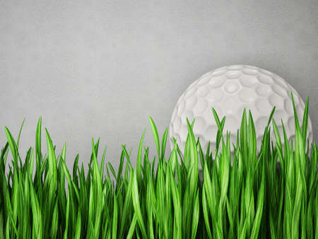 putting green: golf ball in  grass isolated on a grey Stock Photo
