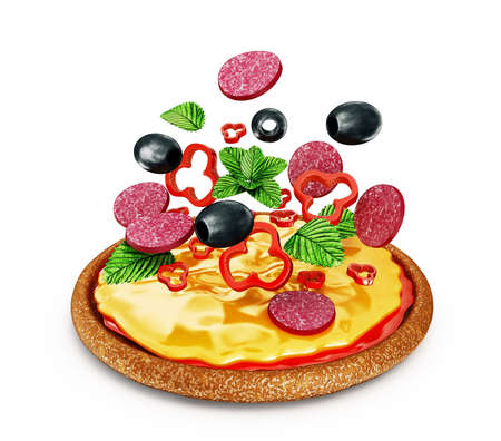 supreme: bright pizza isolated on a white background