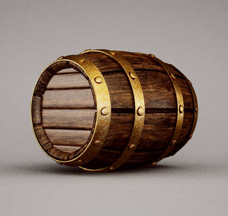 old wooden barrel isolated on a grey