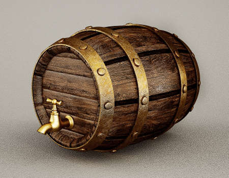 wooden barrel: old wooden barrel isolated on a grey