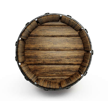 oak barrel: old wooden barrel isolated on a white  Stock Photo