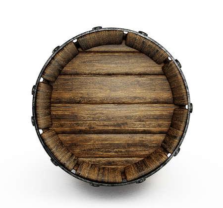 vieux tonneau en bois isol� sur un fond blanc