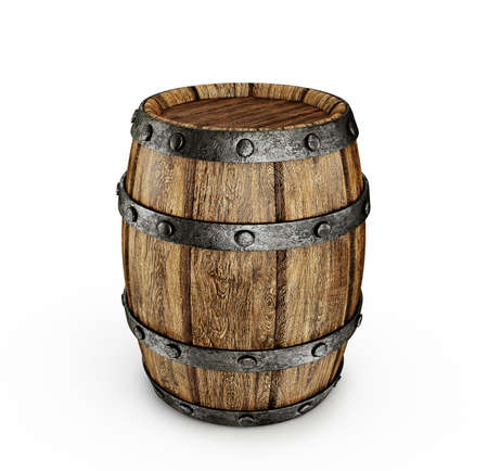 wooden barrel: old wooden barrel isolated on a white  Stock Photo