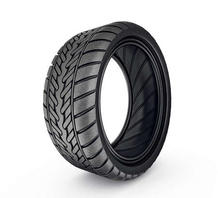 black tyre isolated on a white background photo