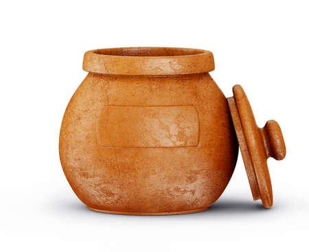 ollas de barro: crisol marrón aislado en un fondo blanco Foto de archivo