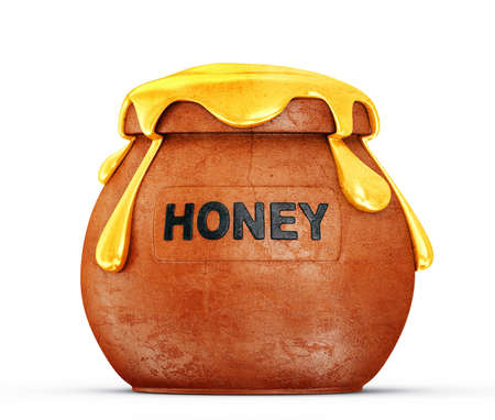 golden pot: honey in a pot isolated on white