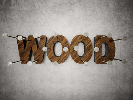 conceptual wood inscription isolated on a grey background Stock Photo - 23548208