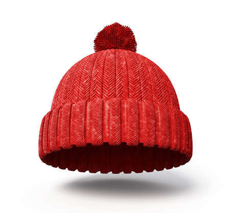 ski wear: red cap isolated on a white background Stock Photo