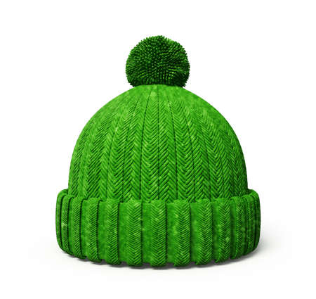 warm clothes: green cap isolated on a white background