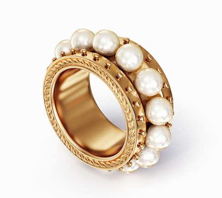 caras emociones: anillo de oro con perlas aisladas sobre un fondo blanco