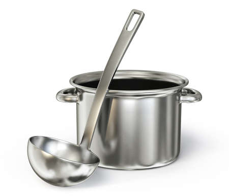 ladle: saucepan with  ladle isolated on a white background