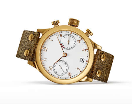 gold watch: modern watch isolated on a white background