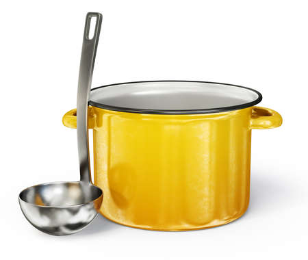 soup pot: yellow saucepan and steel ladle isolated on a white