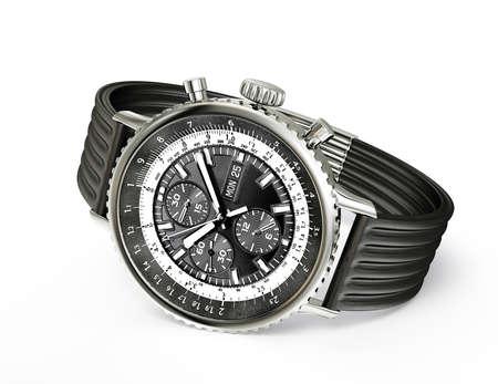 cronógrafo: reloj moderno aislado en un fondo blanco