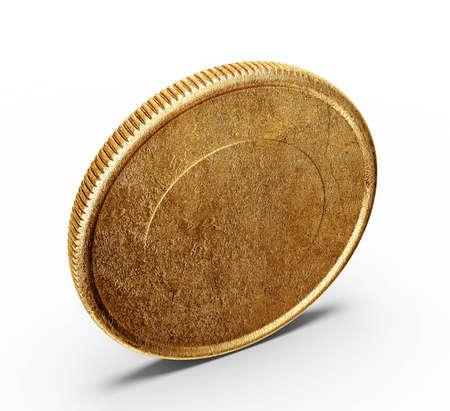 monedas antiguas: monedas de oro aislados sobre un fondo blanco Foto de archivo