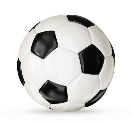 balones deportivos: bal�n de f�tbol aislado en un fondo blanco Foto de archivo