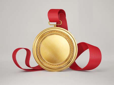zlatou medaili izolovaných na šedém pozadí