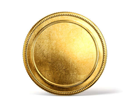 monete antiche: moneta d'oro isolato su uno sfondo bianco