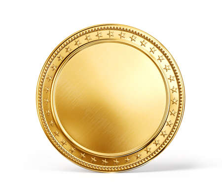 blank sign: gold coin isolated on a white background