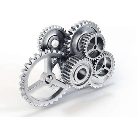 cogs and gears: group of gears isolated on a white background