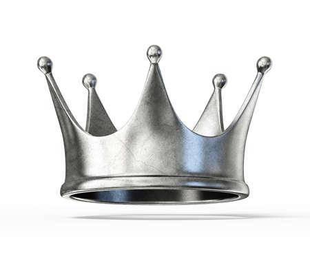 corona reina: Corona de plata aislado en un fondo blanco Foto de archivo