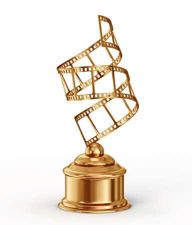 trofeo: premio de oro aislado en un fondo blanco