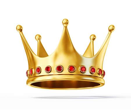 corona reina: corona de oro aislado en un fondo en blanco Foto de archivo