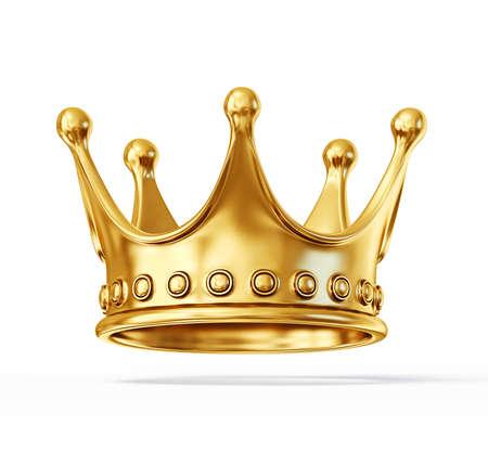 흰색 배경에 고립 된 황금 왕관