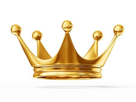 白い背景で隔離の黄金の王冠
