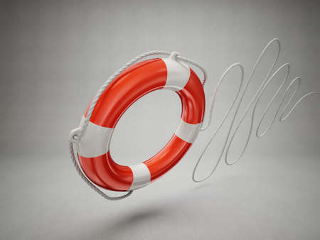 ring life: lifebuoy isolated on a grey background. 3d illustration