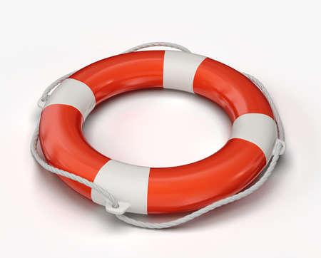 救命浮輪、白い背景で隔離されました。3 d イラスト 写真素材