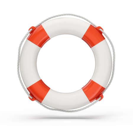 reddingsboei geïsoleerd op een witte achtergrond. 3d illustratie Stockfoto