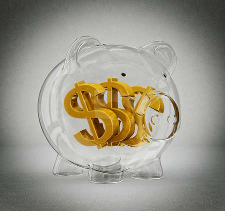 glass piggy bank isolated on a grey background photo