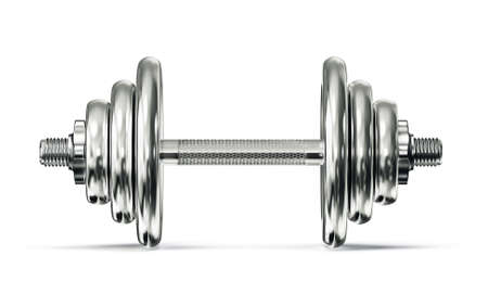 weight training: steel dumbbell isolated on a white background
