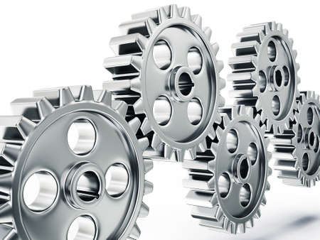 cogs and gears: steel gears isolated on a white background