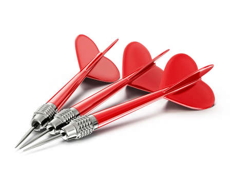 conceptual darts isolated on a white background Standard-Bild