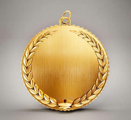 gouden medaille geïsoleerd op een grijze achtergrond Stockfoto