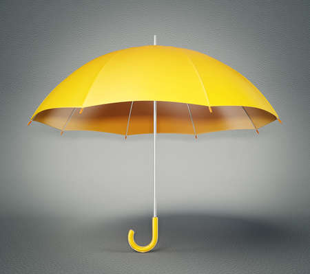 yellow umbrella: yellow umbrella isolated on a grey background