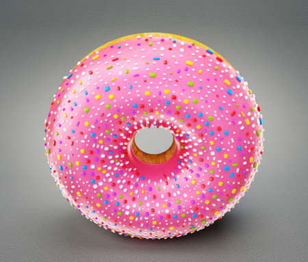 donut: pink donut isolated on a grey background
