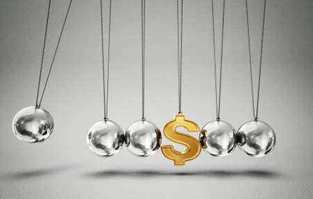 newton cradle: conceptual  balancing balls with dollar sign isolated on a grey