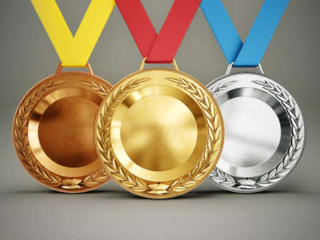sports competition medals isolated on a grey background