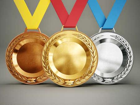 Olimpic medailles geïsoleerd op een grijze achtergrond