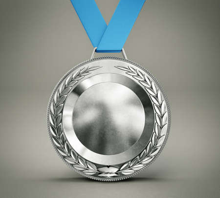 silver medal: silver medal isolated on a grey background