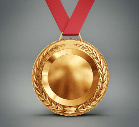 bronze medal: bronze medal isolated on a grey background Stock Photo