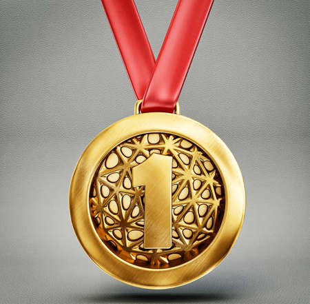 backround: gold medal isolated on a grey backround