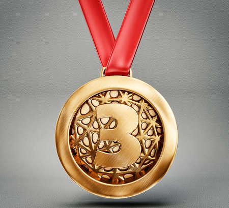 bronze medal isolated on a grey backround Stock Photo - 27718281