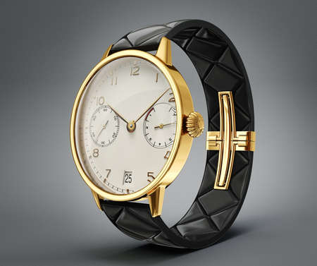 gold watch: gold watch isolated on a grey background