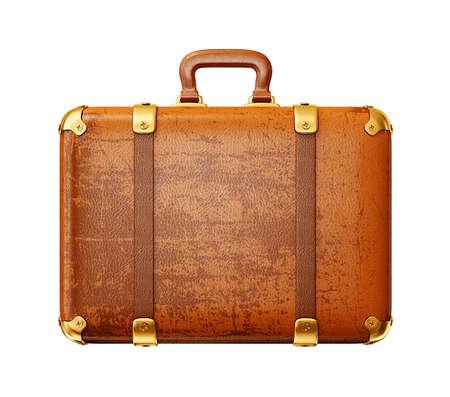 白い背景に分離した薄茶色のスーツケース 写真素材