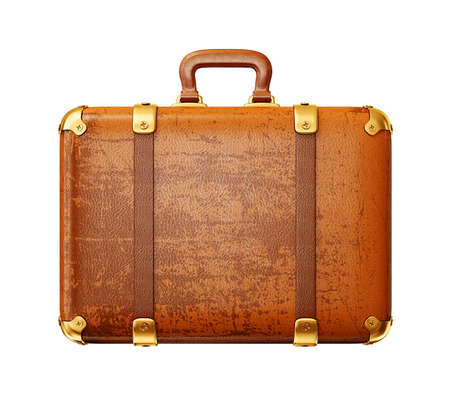 old suitcase: brown suitcase isolated on a white background