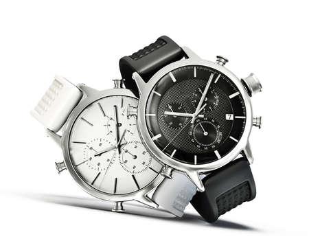 白い背景上に分離されて近代的な時計